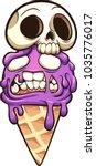 zombie ice cream with skull.... | Shutterstock .eps vector #1035776017