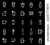 beverage line icons on black... | Shutterstock .eps vector #1035777874