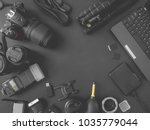 top view of work space... | Shutterstock . vector #1035779044