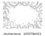 unique floral   frame sketch | Shutterstock .eps vector #1035786421