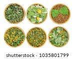 set of healing herbs. dry herbs ... | Shutterstock . vector #1035801799