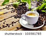 Hot cup of coffee - stock photo