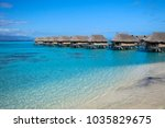 overwater bungalow in french... | Shutterstock . vector #1035829675