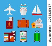 colorful set of travel icons in ... | Shutterstock .eps vector #1035835687