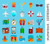 colorful set of travel icons in ... | Shutterstock .eps vector #1035836491