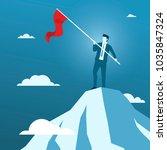 businessman holding red flag on ... | Shutterstock .eps vector #1035847324
