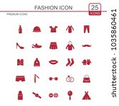 fashion icons set red | Shutterstock .eps vector #1035860461