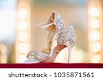 bridal wedding sandal shoes... | Shutterstock . vector #1035871561