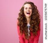 pink mood. happy modern woman... | Shutterstock . vector #1035875749