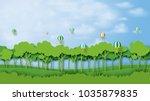 green silhouette forest...   Shutterstock .eps vector #1035879835