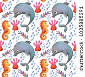 Seamless Pattern. Dolphin ...