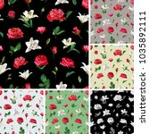seamless floral patterns. roses ... | Shutterstock .eps vector #1035892111
