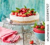 no bake strawberry cheesecake... | Shutterstock . vector #1035899707