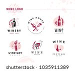 collection of wine alcohol logo ... | Shutterstock . vector #1035911389
