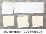 pieces of torn white note ... | Shutterstock .eps vector #1035935905