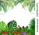 tropical jungle background with ... | Shutterstock .eps vector #1035941491