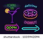 cocktails bar and donut set ...   Shutterstock .eps vector #1035942094