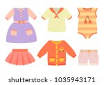 baby clothes poster with set of ... | Shutterstock .eps vector #1035943171