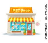 Stock vector vector cartoon style illustration of pet shop facade with bright banner store building exterior 1035967087