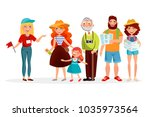 guide and group of tourists... | Shutterstock .eps vector #1035973564