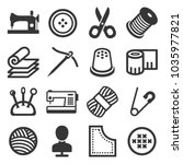 sewing icons set on white... | Shutterstock . vector #1035977821