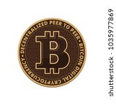 bitcoin coin on white... | Shutterstock . vector #1035977869