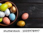 happy easter  easter eggs on... | Shutterstock . vector #1035978997