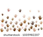 hands with skin color diversity ... | Shutterstock .eps vector #1035982207