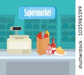 supermarket groceries with... | Shutterstock .eps vector #1035985399