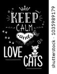 keep calm and love cats funny... | Shutterstock .eps vector #1035989179