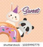 cute bear panda and rabbit... | Shutterstock .eps vector #1035990775