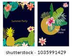 set of cards with tropical... | Shutterstock .eps vector #1035991429