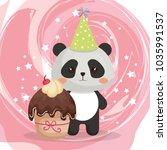 cute bear panda with cupcake... | Shutterstock .eps vector #1035991537
