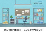 stylish and modern office... | Shutterstock . vector #1035998929