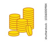 blank gold coin stacks in white ... | Shutterstock .eps vector #1036000984