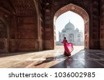 Woman In Red Saree Sari In The...