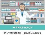 pharmacist standing behind...   Shutterstock .eps vector #1036023091
