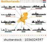 netherlands map with largest... | Shutterstock .eps vector #1036024597