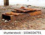 rusty piece of metal texture... | Shutterstock . vector #1036026751