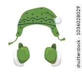 mittens and hat illustration.... | Shutterstock . vector #1036028029