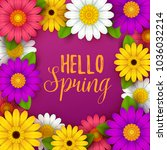 colorful spring background with ... | Shutterstock .eps vector #1036032214