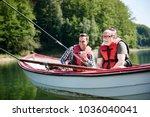 portrait of cheerful fishermen...   Shutterstock . vector #1036040041