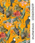 jungle pattern with birds and... | Shutterstock .eps vector #1036043659