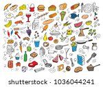 a food doodles  vector... | Shutterstock .eps vector #1036044241