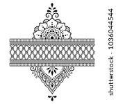 mehndi flower pattern for henna ... | Shutterstock .eps vector #1036044544