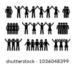 stick figure group people icon. ... | Shutterstock .eps vector #1036048399
