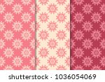 set of red floral ornaments.... | Shutterstock .eps vector #1036054069