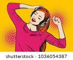 pop art girl listens to music... | Shutterstock .eps vector #1036054387