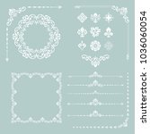 vintage white set of vector... | Shutterstock .eps vector #1036060054