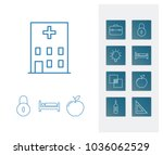 pack icon set and hospital with ...